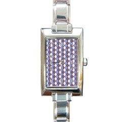 Allover Graphic Blue Brown Rectangular Italian Charm Watch