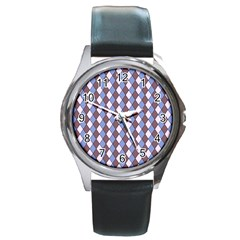 Allover Graphic Blue Brown Round Leather Watch (Silver Rim)