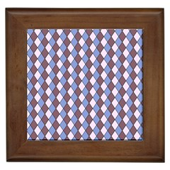 Allover Graphic Blue Brown Framed Ceramic Tile