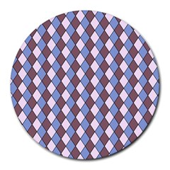 Allover Graphic Blue Brown 8  Mouse Pad (round)