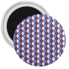 Allover Graphic Blue Brown 3  Button Magnet