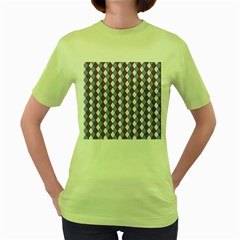 Allover Graphic Blue Brown Womens  T-shirt (Green)