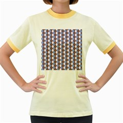 Allover Graphic Blue Brown Womens  Ringer T Shirt (colored)