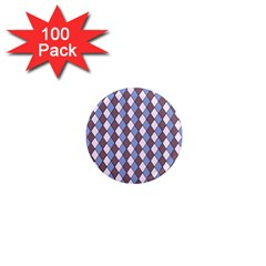 Allover Graphic Blue Brown 1  Mini Button Magnet (100 pack)