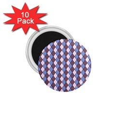 Allover Graphic Blue Brown 1 75  Button Magnet (10 Pack)