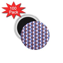 Allover Graphic Blue Brown 1.75  Button Magnet (100 pack)