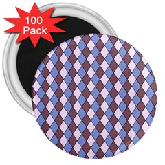 Allover Graphic Blue Brown 3  Button Magnet (100 pack)