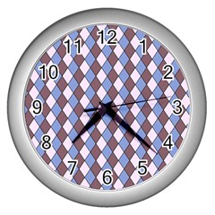 Allover Graphic Blue Brown Wall Clock (Silver)