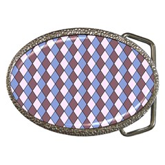 Allover Graphic Blue Brown Belt Buckle (Oval)