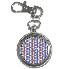 Allover Graphic Blue Brown Key Chain & Watch