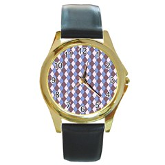 Allover Graphic Blue Brown Round Leather Watch (Gold Rim)