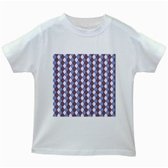 Allover Graphic Blue Brown Kids' T Shirt (white)