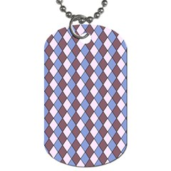 Allover Graphic Blue Brown Dog Tag (One Sided)