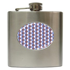Allover Graphic Blue Brown Hip Flask