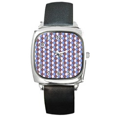 Allover Graphic Blue Brown Square Leather Watch