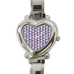 Allover Graphic Blue Brown Heart Italian Charm Watch