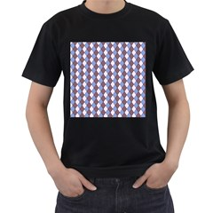 Allover Graphic Blue Brown Mens' Two Sided T-shirt (Black)