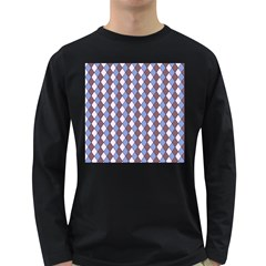 Allover Graphic Blue Brown Mens' Long Sleeve T Shirt (dark Colored)