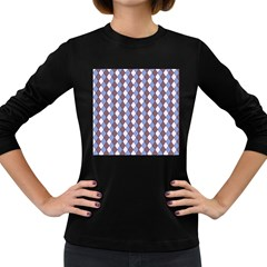 Allover Graphic Blue Brown Womens' Long Sleeve T Shirt (dark Colored)