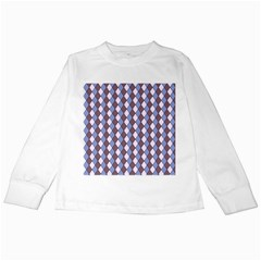 Allover Graphic Blue Brown Kids Long Sleeve T-Shirt