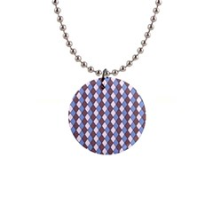 Allover Graphic Blue Brown Button Necklace
