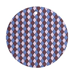 Allover Graphic Blue Brown Round Ornament (Two Sides)