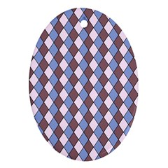 Allover Graphic Blue Brown Oval Ornament (two Sides)