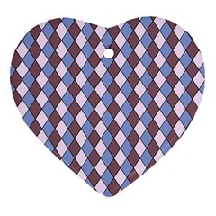 Allover Graphic Blue Brown Heart Ornament (Two Sides)