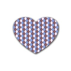 Allover Graphic Blue Brown Drink Coasters 4 Pack (Heart)