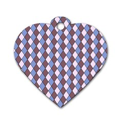 Allover Graphic Blue Brown Dog Tag Heart (One Sided)