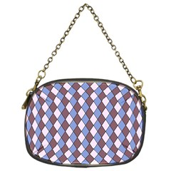 Allover Graphic Blue Brown Chain Purse (One Side)