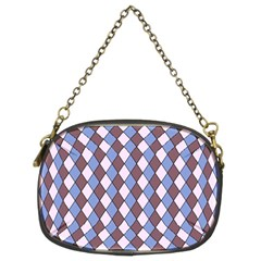 Allover Graphic Blue Brown Chain Purse (Two Sided)