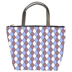 Allover Graphic Blue Brown Bucket Handbag