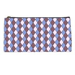 Allover Graphic Blue Brown Pencil Case