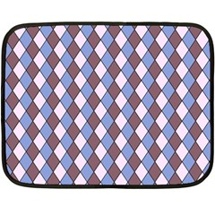 Allover Graphic Blue Brown Mini Fleece Blanket (two Sided)