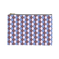 Allover Graphic Blue Brown Cosmetic Bag (large)