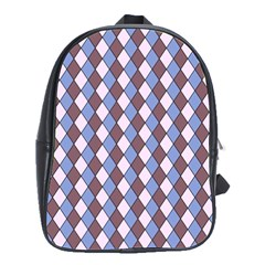 Allover Graphic Blue Brown School Bag (Large)