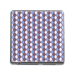 Allover Graphic Blue Brown Memory Card Reader With Storage (square)