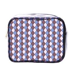 Allover Graphic Blue Brown Mini Travel Toiletry Bag (One Side)