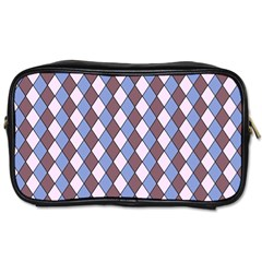 Allover Graphic Blue Brown Travel Toiletry Bag (Two Sides)