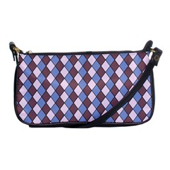 Allover Graphic Blue Brown Evening Bag