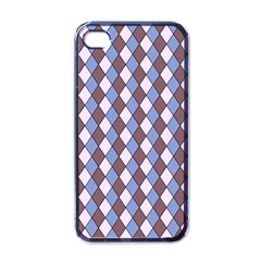 Allover Graphic Blue Brown Apple iPhone 4 Case (Black)