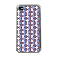 Allover Graphic Blue Brown Apple Iphone 4 Case (clear)