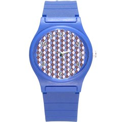 Allover Graphic Blue Brown Plastic Sport Watch (Small)