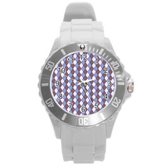 Allover Graphic Blue Brown Plastic Sport Watch (Large)