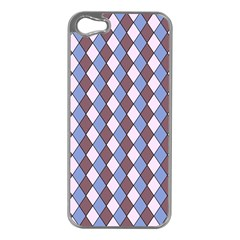 Allover Graphic Blue Brown Apple iPhone 5 Case (Silver)