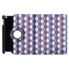 Allover Graphic Blue Brown Apple iPad 2 Flip 360 Case