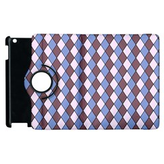 Allover Graphic Blue Brown Apple iPad 3/4 Flip 360 Case