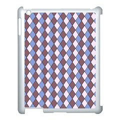 Allover Graphic Blue Brown Apple iPad 3/4 Case (White)