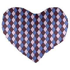 Allover Graphic Blue Brown 19  Premium Heart Shape Cushion